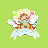 Event Template Label Cute Sticker With Little Girl And Presents