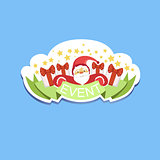 Event Template Label Cute Sticker With Santa Claus