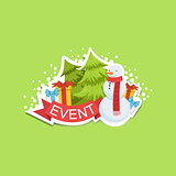 Event Template Label Cute Sticker With Snowman And Fir Trees