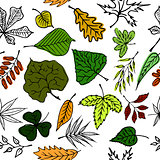 Hand drawn engraving style leaves Seamless pattern. Black and white