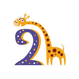 Giraffe Standing Next To Number Two Stylized Funky Animal