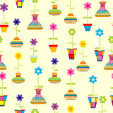 Seamless with spring colorful flowers in pots