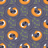 Orange foxes, plants and pine vector seamless pattern
