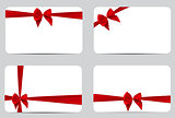 Gift Card Template Collection Set with Silk Red Ribbon and Bow.