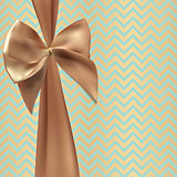 Gift Card with Silk Ribbon and Bow. Vector illustration
