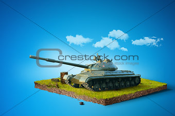Battle Tank on a square piece of ground