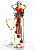 Bottle of white wine with christmas decoration