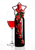 Bottle and glass of red wine christmas decoration