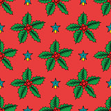 Seamless background with Christmas holly. Vector illustration.