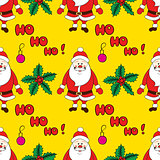Christmas seamless pattern with cartoon Santa. Vector