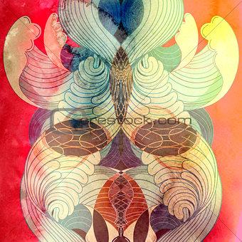 Watercolor Retro multicolored pattern