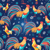 Colorful pattern with roosters