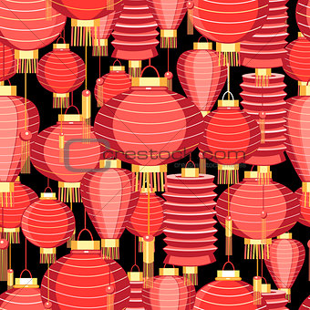 Bright pattern with red lanterns