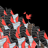 Bird in love and abstraction