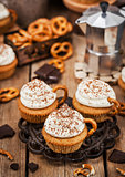 Delicious coffee cupcakes decorated like a cappuccino cup