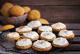 Homemade pumpkin spice cake cookies with glaze and cinnamon