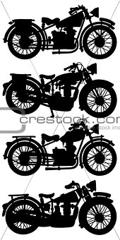 Four vintage motorcycles