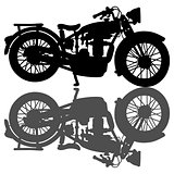 Silhouette of the vintage motorcycle