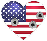 Symbol US flag heart shape bullets pierced