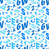 Blue letters in isometric projection on white, seamless pattern
