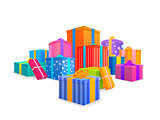 Group of bright, colorful wrapped gift boxes on white