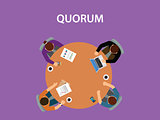 quorum concept illustration with team business people discuss together