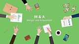 m and a merger  acquisition concept illustration team work together on the same table with view from top