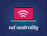 net neutrality concept illustration with signal wifi symbol on the screen laptop and galaxy background