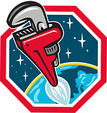 Pipe Wrench Rocket Booster Blasting Space Hexagon Retro