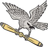 Shrike Clutching Propeller Blade Retro