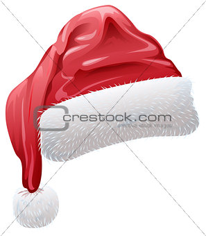 Red santa hat with fluffy white fur