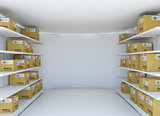 White room with steel shelves and cardboard boxes