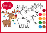 Coloring book page with cartoon christmas deer and bright garland, new year drawing. Sketch and color version. Funny animals for kids education