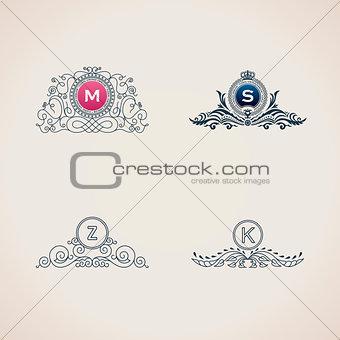 Calligraphic flourishes luxury monogram set. Line frame template logo for elegant emblem