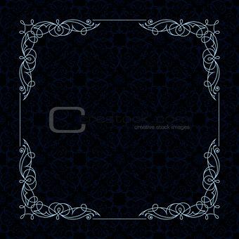 Calligraphic border frame. Design template for wedding greeting card, invitation, menu