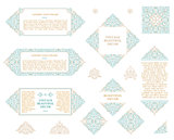 Arabic vector set of frames lines art design templates. Muslim gold outline elements and emblems