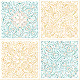 Vector seamless pattern set with art ornament for design