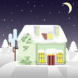 Christmas house on a background of winter night. Flat style. Little cottage. Merry  card.
