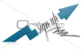 Blue arrow with sign up word