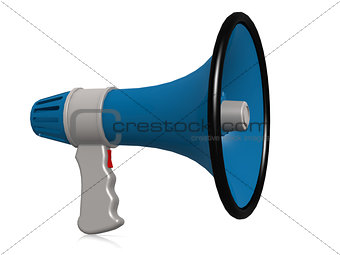 Blue megaphone isolated on white