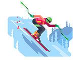 Slalom downhill skiing