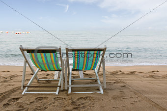 Beach chair on the beach in pattaya