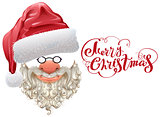 Red santa hat, beard and Merry Christmas lettering