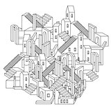 Vector zen art illustration. outline city