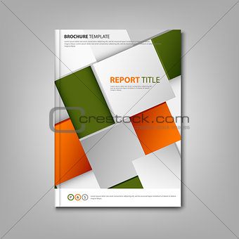 Brochures book or flyer with abstract orange green cubes template