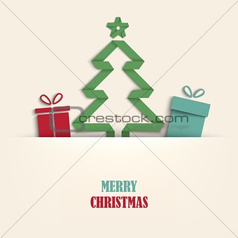 Christmas card with tucked tree and gifts template