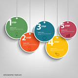 Info graphic with hanging colored circles template
