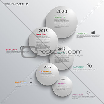 Time line info graphic with grey bubbles above each other