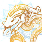 Ink hand drawn stylized chinese dragon illustration on water lil