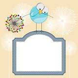 Background with label and bird holding dandelion